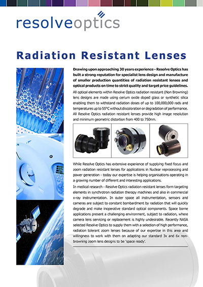 Radiation Resistant Lenses from Resolve Optics